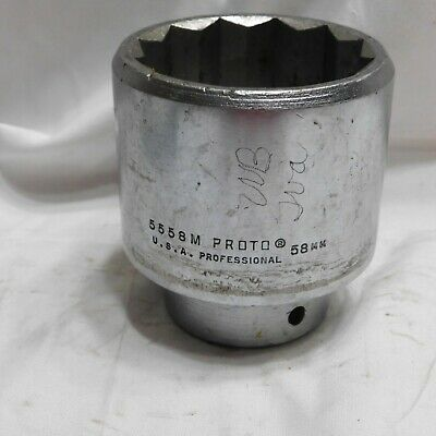 """Proto 3/4"""" Drive 58mm Socket 5558-M - 12 Point - Made in the USA"""