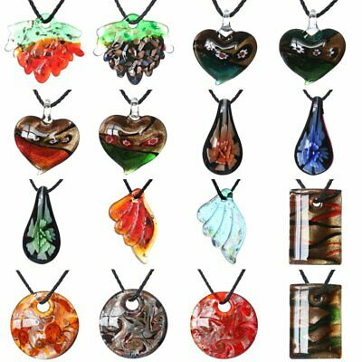 Fashion Murano Glass Leaf Heart Round Pendant Necklace Flower Women Jewelry Gift