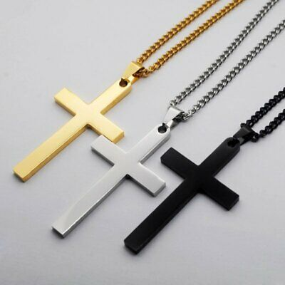 Stainless Steel Cross Pendant Link Chain Men Metal Gold Silver Necklace Jewelry