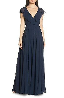f7d54451c88c NEW JENNY YOO Navy Blue FAYE Ruffle V-Neck Chiffon Wrap Skirt Evening Gown  14