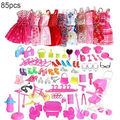 85 Pcs Barbie Doll Clothes Accessories Huge Lot Party Gown Outfits Girl Gift Set