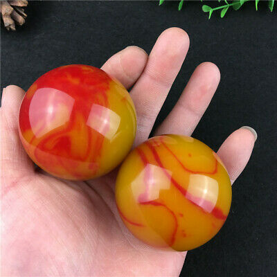 China hand carved Golden Silk Jade Colorful Jade Massage Handball