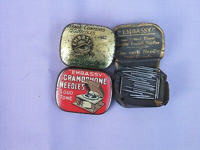 """Old Red """"Embassy"""" Loud Tone Gramophone Needles Tin + Contents c 1930s"""