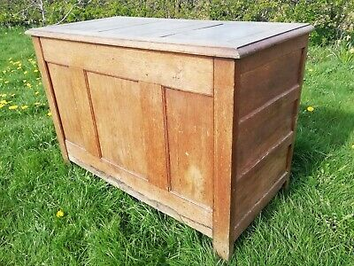 Antique large 18th Century Georgian oak coffer or mule chest Welsh antique