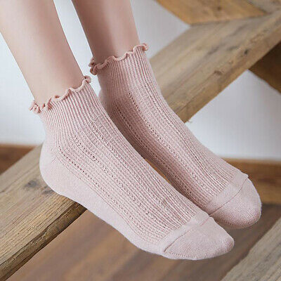 Women Girls Spring Solid Color Thin Section Breathable Cotton Loose Socks CB
