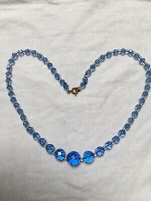 Vintage Art Deco Blue Glass Crystal bead necklace C1930 to 1940s