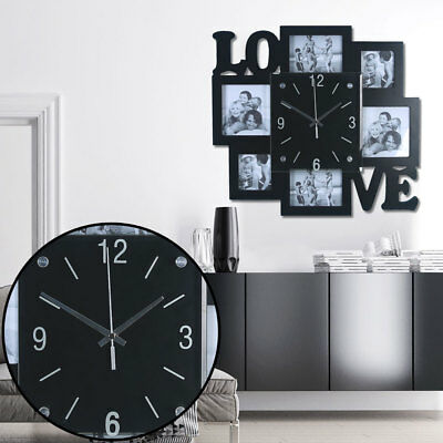 Picture Frame Wall Clock Black Analog Time Display Photos Love Writing