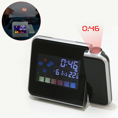 Digital LED Projection Clock Time Thermometer Snooze Alarm Calendar LCD
