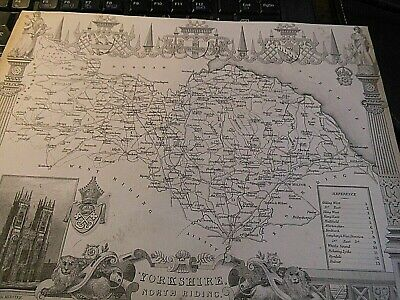 North Riding Yorkshire-Antique Engrave Map Moule/ Schmolling-1836-40 Ist Railway
