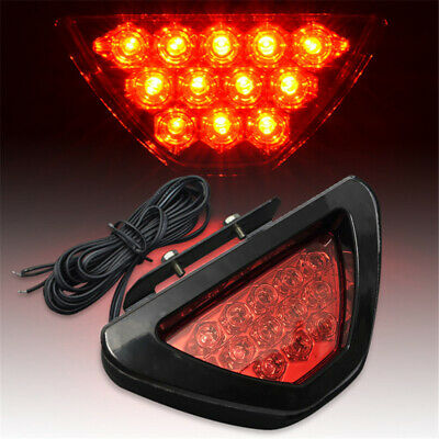 Universal Triangle F1 style 12-LED Red Rear Tail Third Brake Stop Light Fog Lamp