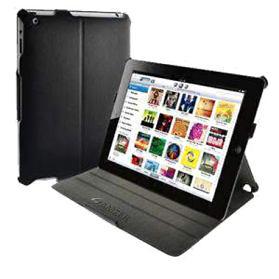 Shell Portfolio Case For iPad 2 - Black Leather Texture Tablet Cover Stand