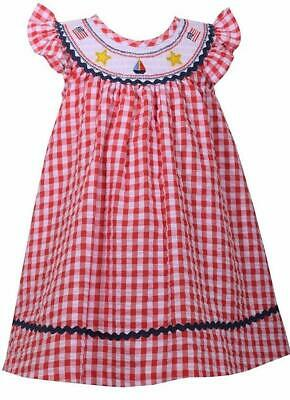 5b589540f NEW Bonnie Jean Baby Girls RED PATRIOTIC SMOCKED Size 12M 2pc 4th Of July  Dress