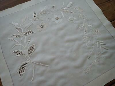Exquisite Handwork! Antique White Linen Embroidered Lace Square 21x20