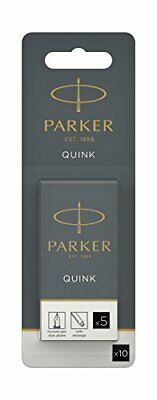 Parker Quink Fountain Pen Refills, Long Cartridges, Black Ink, Pack of 10