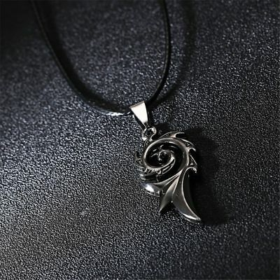 Stainless Mens Titanium Steel Necklace Pendant Fashion Jewelry Black Rope New