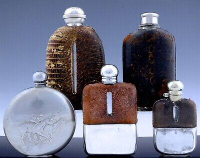 Estate Coll5 Antique Silver Plate Leather Pewter Horse Racing Whiskey Hip Flasks