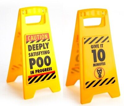 Mini Novelty - DESKTOP WARNING SIGN - DEEPLY SATISFYING POO IN PROGRESS - New