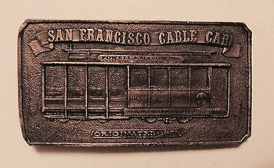 Vintage San Francisco Cable Car Brass Belt Buckle