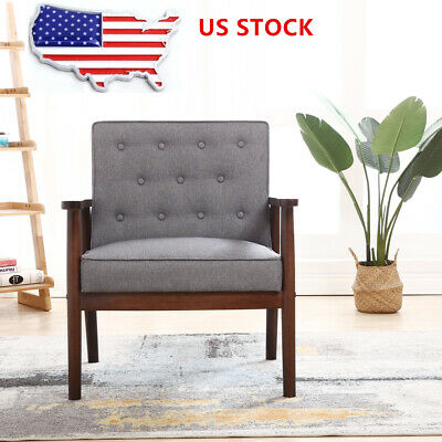 High Quality Modern Fabric Upholstered Wooden Lounge Chair Home Furniture Grey