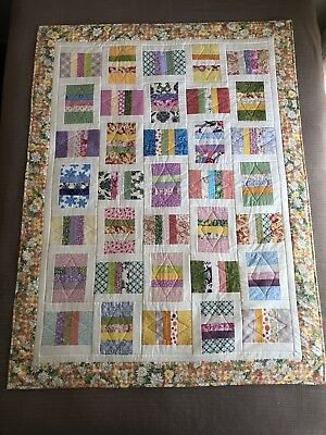 "Handmade Patchwork Quilt 'Colourful Strippy' Size 43"" x 58"" Quality made"