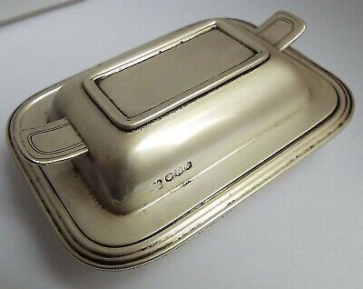 Superb Heavy English Antique 1938 Sterling Silver Novelty Butter Dish With Liner