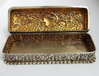 Superb Decorative Large 5.35 Inch English Antique 1900 Sterling Silver Table Box