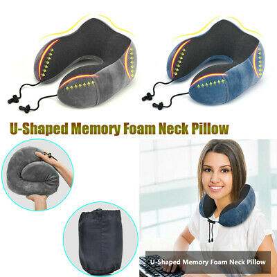 Memory Foam U Shaped Travel Pillow Neck Support Head Rest Car Soft Cushion+Bag