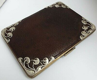 Superb Large English Antique Art Nouveau 1901 Sterling Silver & Leather Wallet