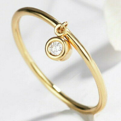 0.05Ct 100% Natural Diamond 14K White Yellow Rose Gold Drop Refined  Ring R186