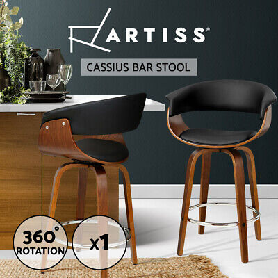 Artiss Swivel Bar Stools Wooden Bar Stool Kitchen Dining Chairs Leather Black