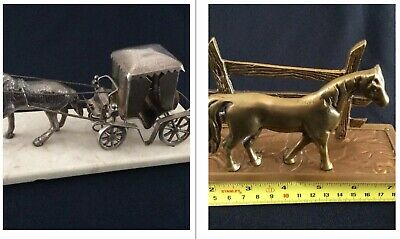 Vintage Silver Plated Horse & Carriage Figure On Marble Base