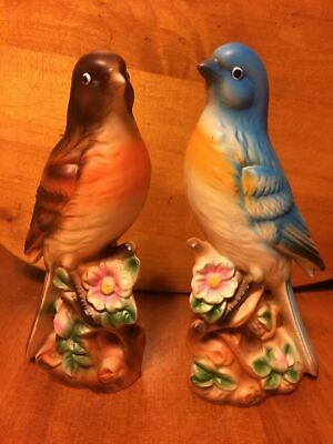 "Vintage Pair Porcelain Ceramic Blue & Brown Bird Figurines 8"" tall"