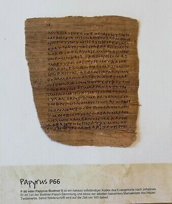 Papyrus P 66, Johannesevangelium Bibel  Bible ancient replic