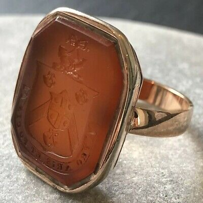"Antique Victorian Gold Carved Carnelian Seal 'Pro Aris Et Focis"" Signet Ring"