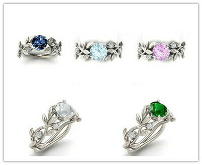 Women 925 Silver Aquamarine/Pink Sapphire/Emerald Wedding Ring Size5-11 Muse Ms