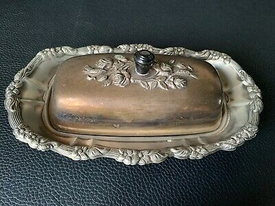 Victorian 3 Pieces FALSTAFF Silver Plated Butter Dish Cut Crystal Glass Bottom