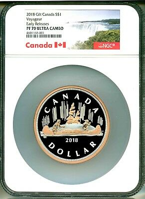 2018 Canada S$1 Gilt Voyageur 5 Oz. Silver Early Release NGC PF70 Ultra Cameo