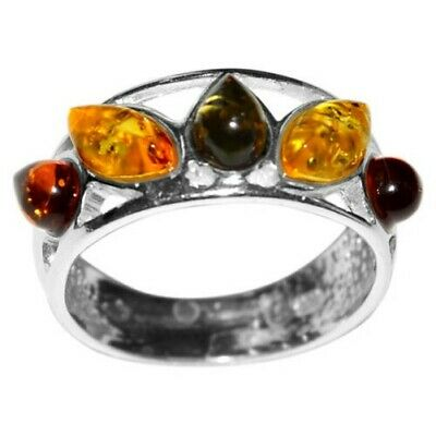 3.33g Authentic Baltic Amber 925 Sterling Silver Ring Jewelry N-A7172