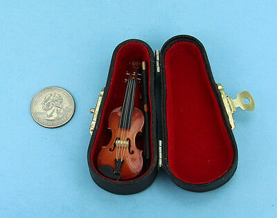 NICE Dollhouse Miniature Realistic Violin with a Carrying Case 1:12 Scale #S9149