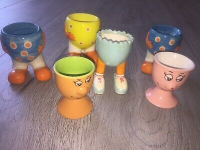 Novelty Egg Cups x 6 - Faces & Bright Coloured Bodies - Make An Egg Person