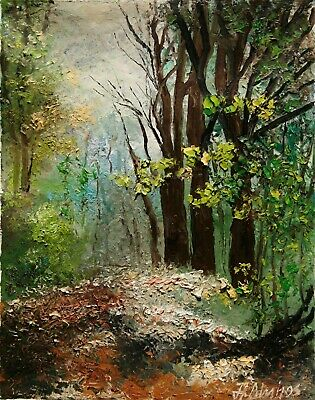 Landscape Forest Woods Trees Leaves Path ORIGINAL OIL PAINTING Andre Dluhos
