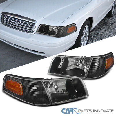 98 11 Ford Crown Victoria Black Headlights Corner Turn Signal Lamps Left Right