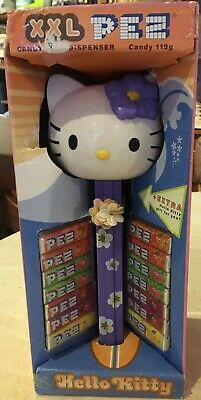 Giant Hello Purple  Kitty Pez Dispenser, With Pez, In Box, New