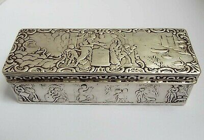 Handsome Heavy Large Decorative Antique Dutch 1887 Solid Silver Table Jewel Box