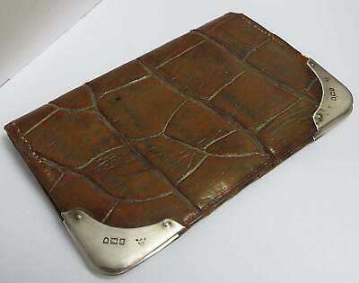 Lovely English Antique 1908 Solid Sterling Silver & Crocodile Skin Wallet Purse