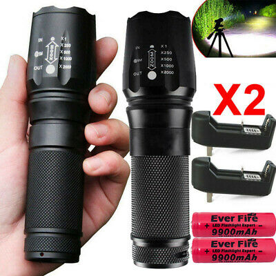 Tactical 90000Lumen T6 LED Rechargeable Flashlight Torch Super Bright Light Camp