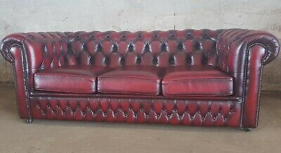 Quality Saxon Oxblood Leather Chesterfield 3 Seater Sofa
