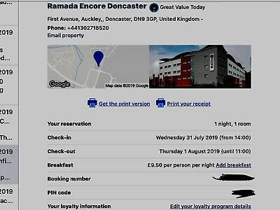 One night in the Ramada Hotel at Doncaster Airport 31/7/19
