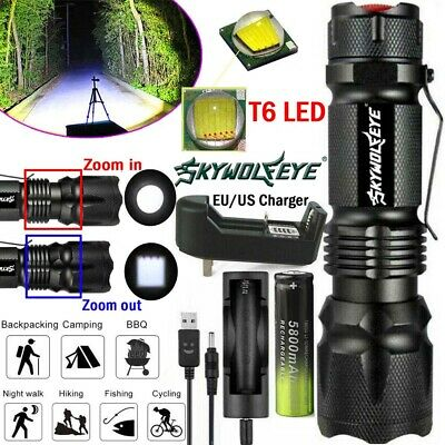 Zoomable 100000LM Tactical Military T6 LED Flashlight Torch Work Light Lamp Camp