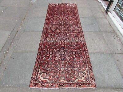 Old Traditional Hand Made Persian Oriental Pink Wool Long Narrow Runner 264x91cm